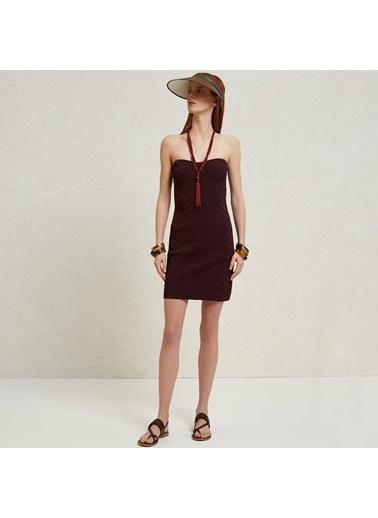 Yargıcı Mini Örme Elbise Mürdüm